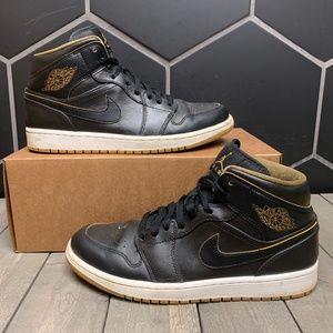 Used Air Jordan 1 Retro Black Gold Shoes Size 9.5